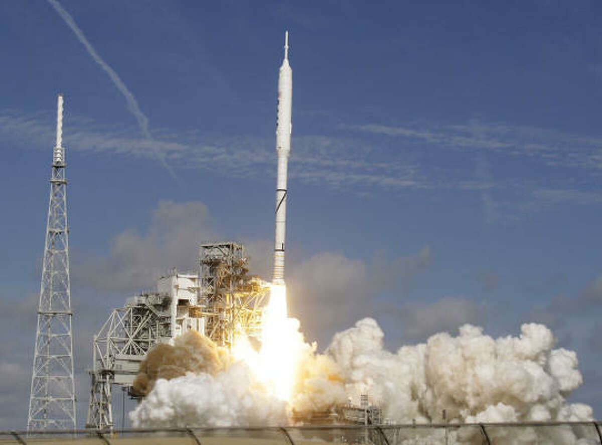 The Ares I-X test rocket blasts off from Pad 39B at the Kennedy Space Center in Cape Canaveral, Fla.
