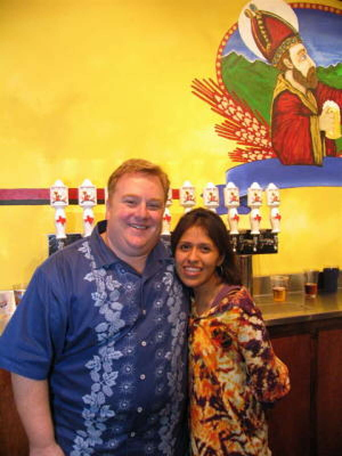Beer-lovers celebrated the opening of Saint Arnold's downtown brewery Thursday night. Pictured: Ken Kowis, left, and Teresa Chavez. Read more about Saint Arnold's expansion and grand opening here.