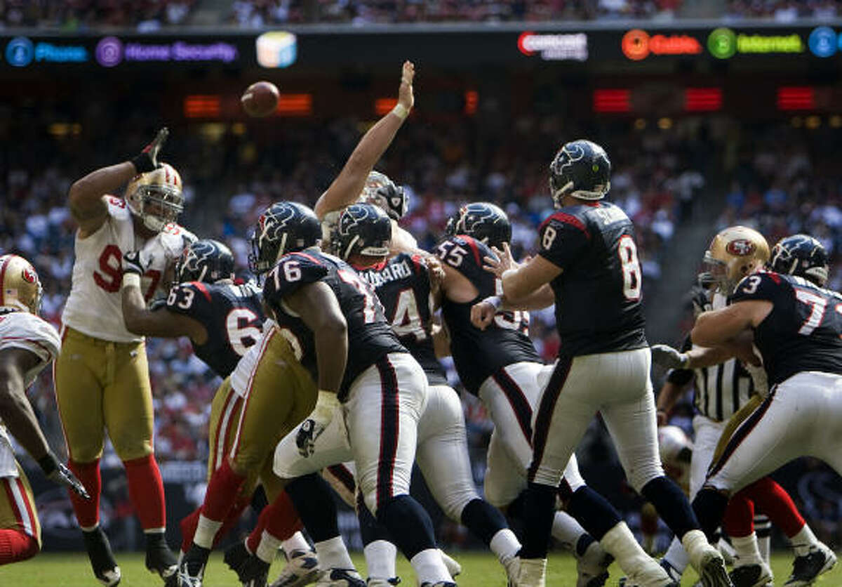 RISING: Quarterback Matt Schaub Schaub leads the NFL with 16 touchdown passes, which also equals David Carr's single-season franchise record, set in 2004.