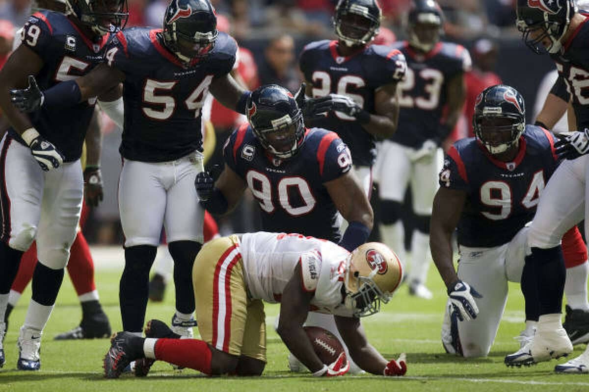 RISING: Run defense The Texans have held opponents to less than 60 yards rushing in four straight games after giving up an average of 180 yards in the first three games.