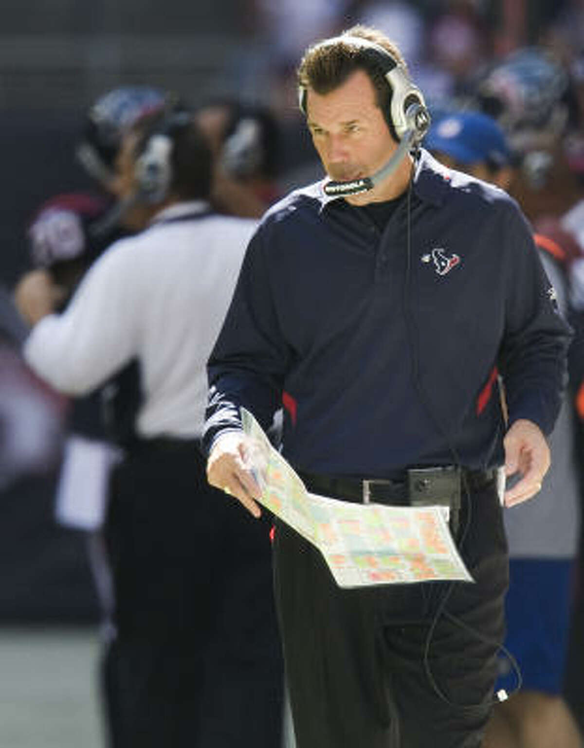 HOLDING STEADY: Coach Gary Kubiak Admit it, you complain about Kubiak when the Texans lose. And you complain when the Texans nearly blow a 21-point lead to the 49ers. But the Texans are on a winning streak for the first time this season, so we'll cut Kubiak some slack.