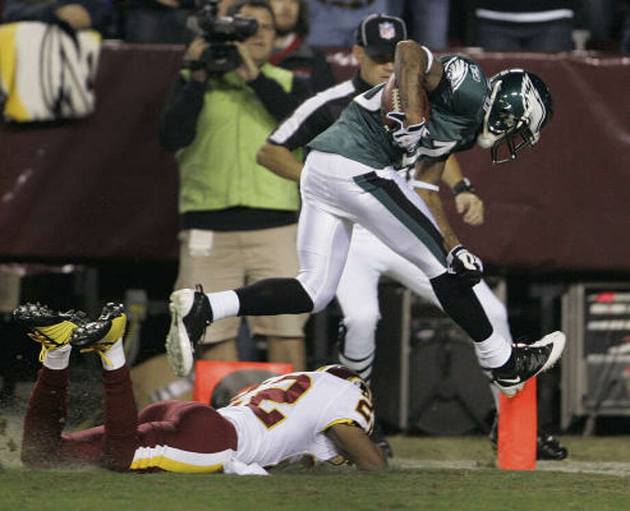 Oct. 26: Eagles 27, Redskins17Eagles wide receiver DeSean Jackson escapes the grasp of Redskins cornerback Carlos Rogers to score a 67-yard touchdown. Photo: Manuel Balce Ceneta, AP