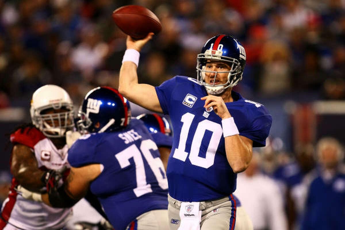 Oct. 25: Cardinals 24, Giants 17 The Cardinals defense had three interceptions of Giants quarterback Eli Manning (10).