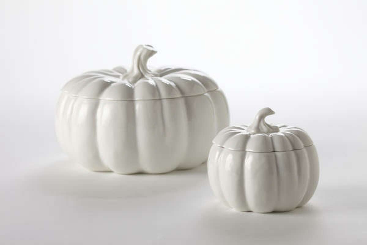 Martha Stewart Collection Figural Whiteware Pumpkin bowls, $10-$24, Macy's and macys.com.