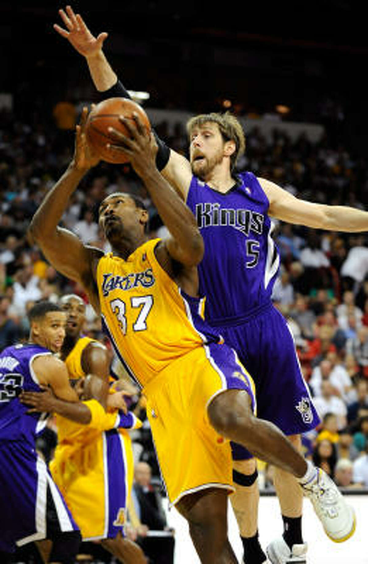 Los Angeles Lakers Former Rocket Ron Artest (37) joins Kobe and Co.'s quest to repeat as NBA champions. Predicted finish: 64-18 (first in Pacific and West).