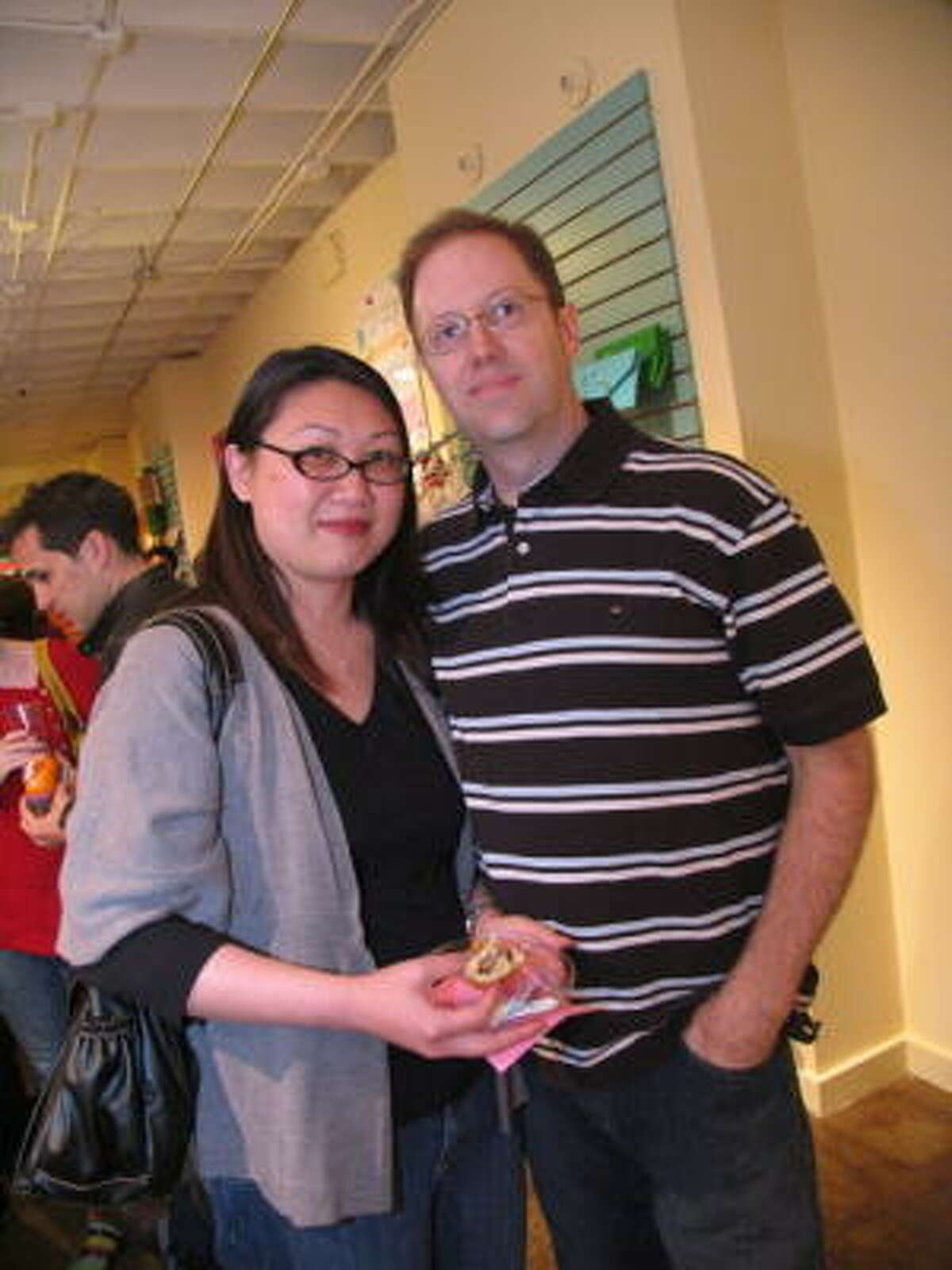 Craft-lovers joined together to celebrate the grand re-opening Sew Crafty, a sewing lounge in the heights. Pictured: Patty and David Holmes