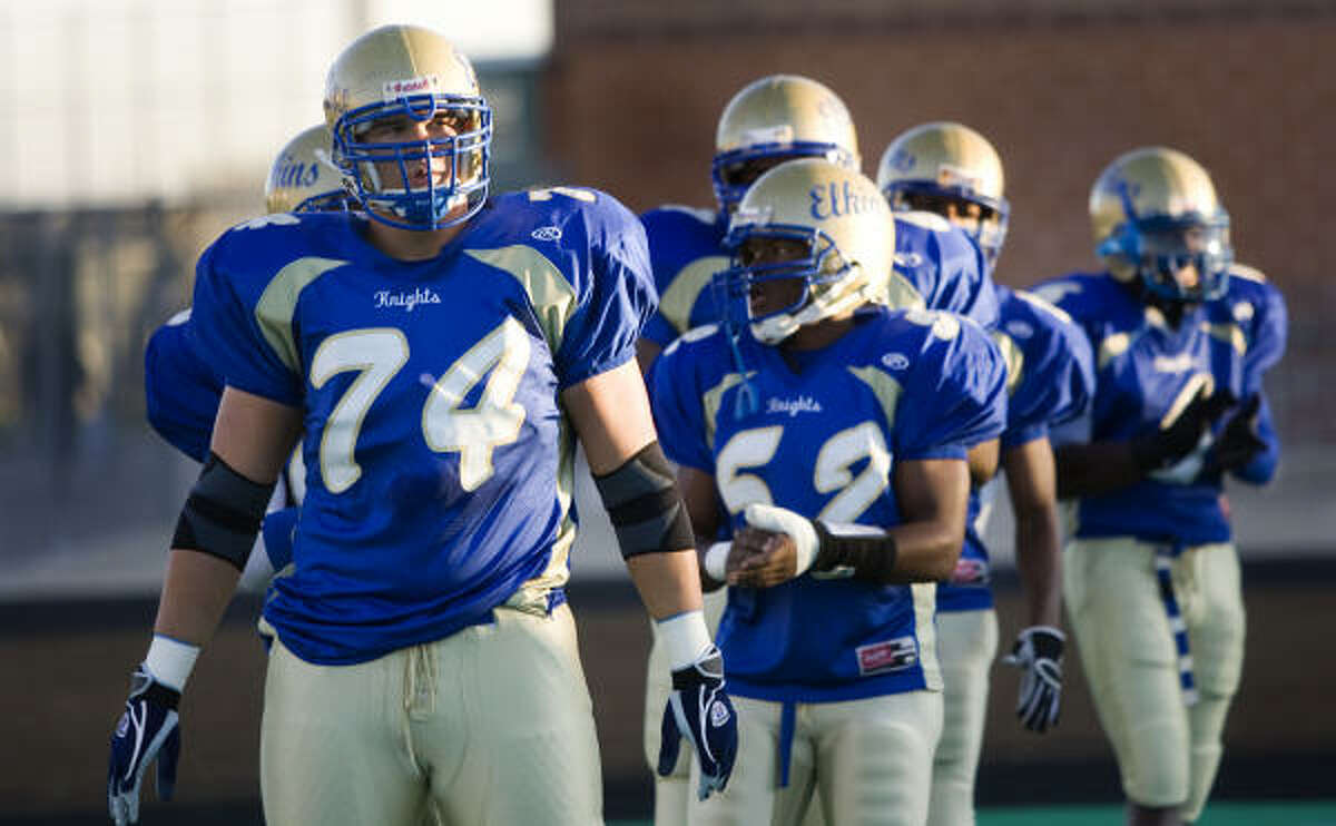 Jake Matthews (74) is the starting left tackle at Elkins and is verbally committed to Texas A&M.