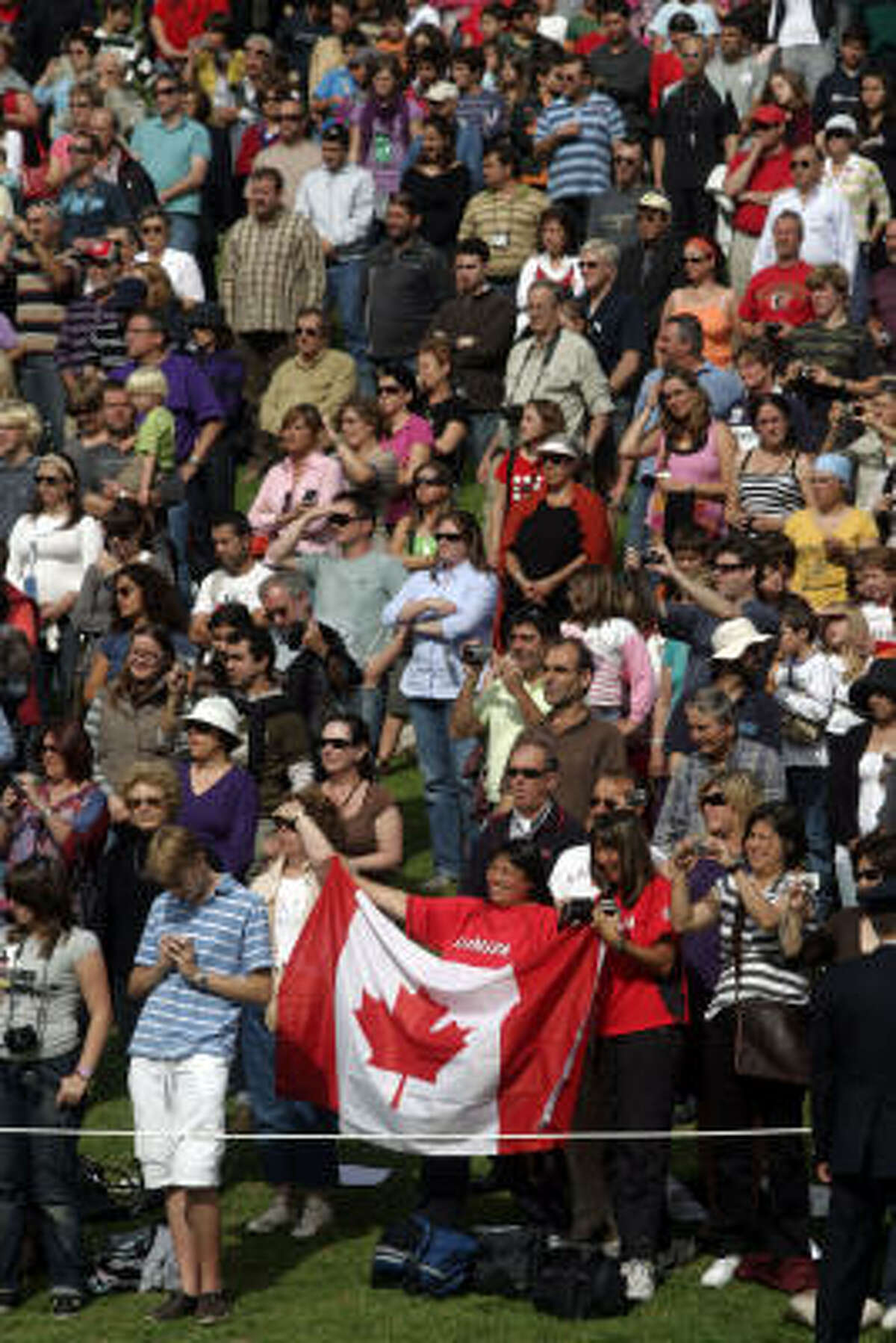 The Canadian flag was on display among the crowd of spectators.