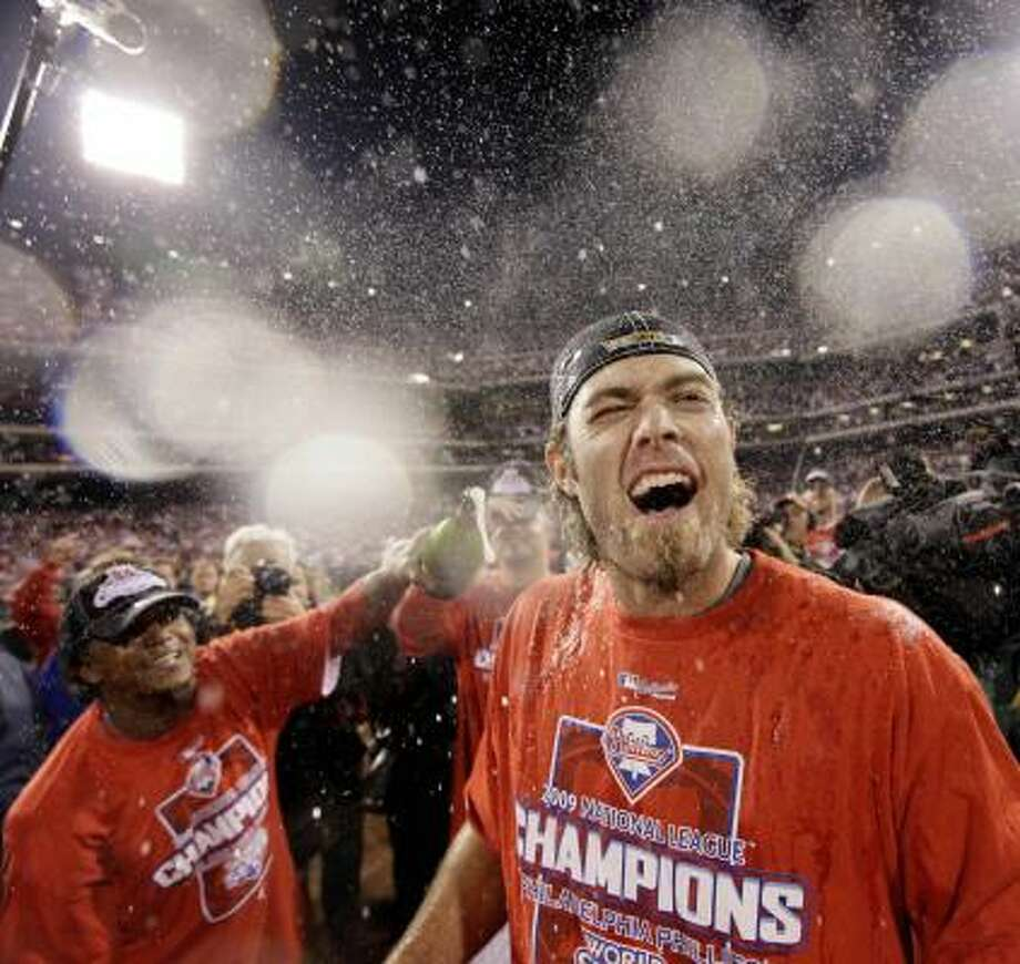 Game 5: Phillies 10, Dodgers 4Phillies outfielder Jayson Werth gets sprayed with champagne by pitcher Pedro Martinez after the Phillies won the National League pennant by defeating the Dodgers 10-4. Photo: David J. Phillip, AP