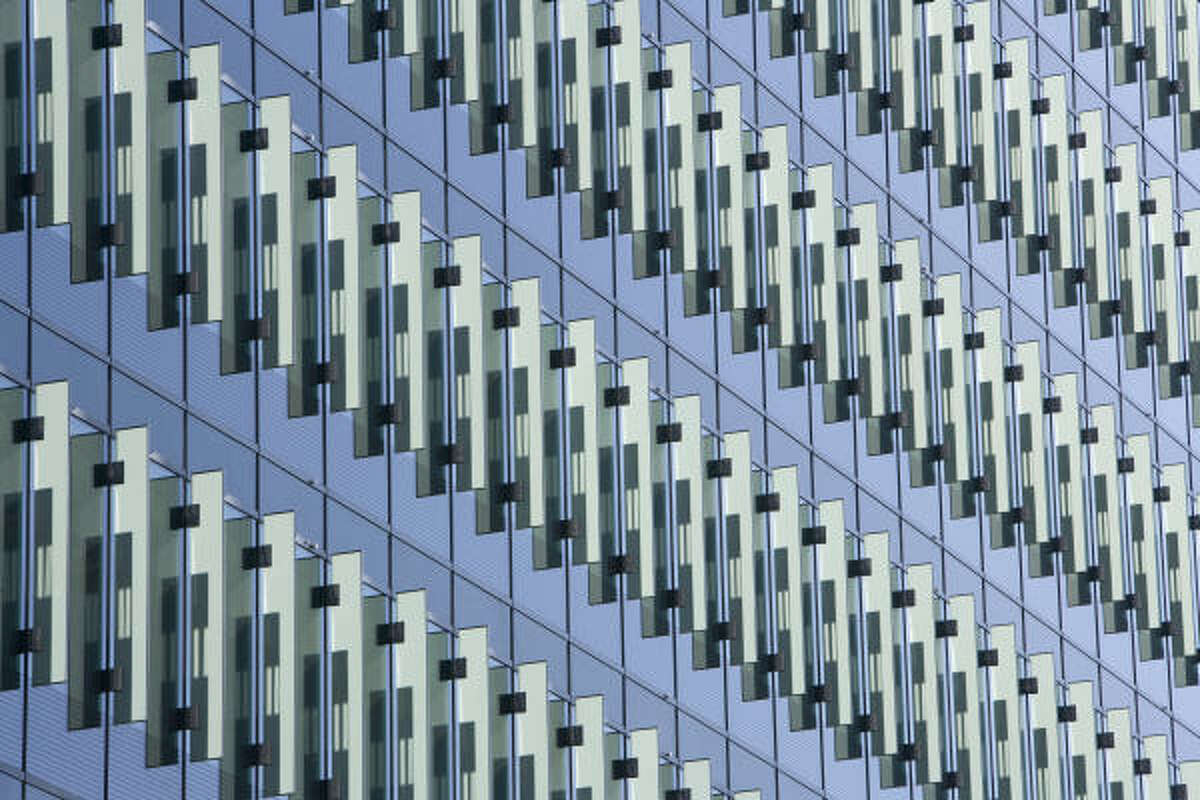Vertical fins on the exterior of the Sysco Foods Headquarters help regulate the amount of sunlight that hits the buildings.
