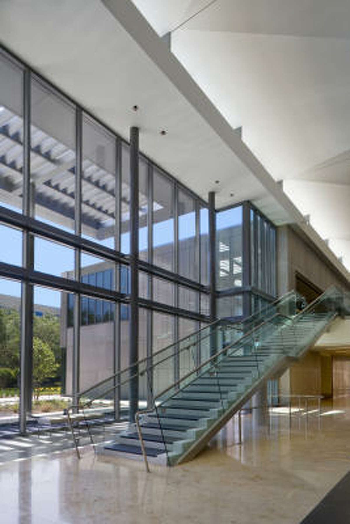 Sysco Foods Headquarters was built using many natural, regional materials, including the limestone floors pictured here.