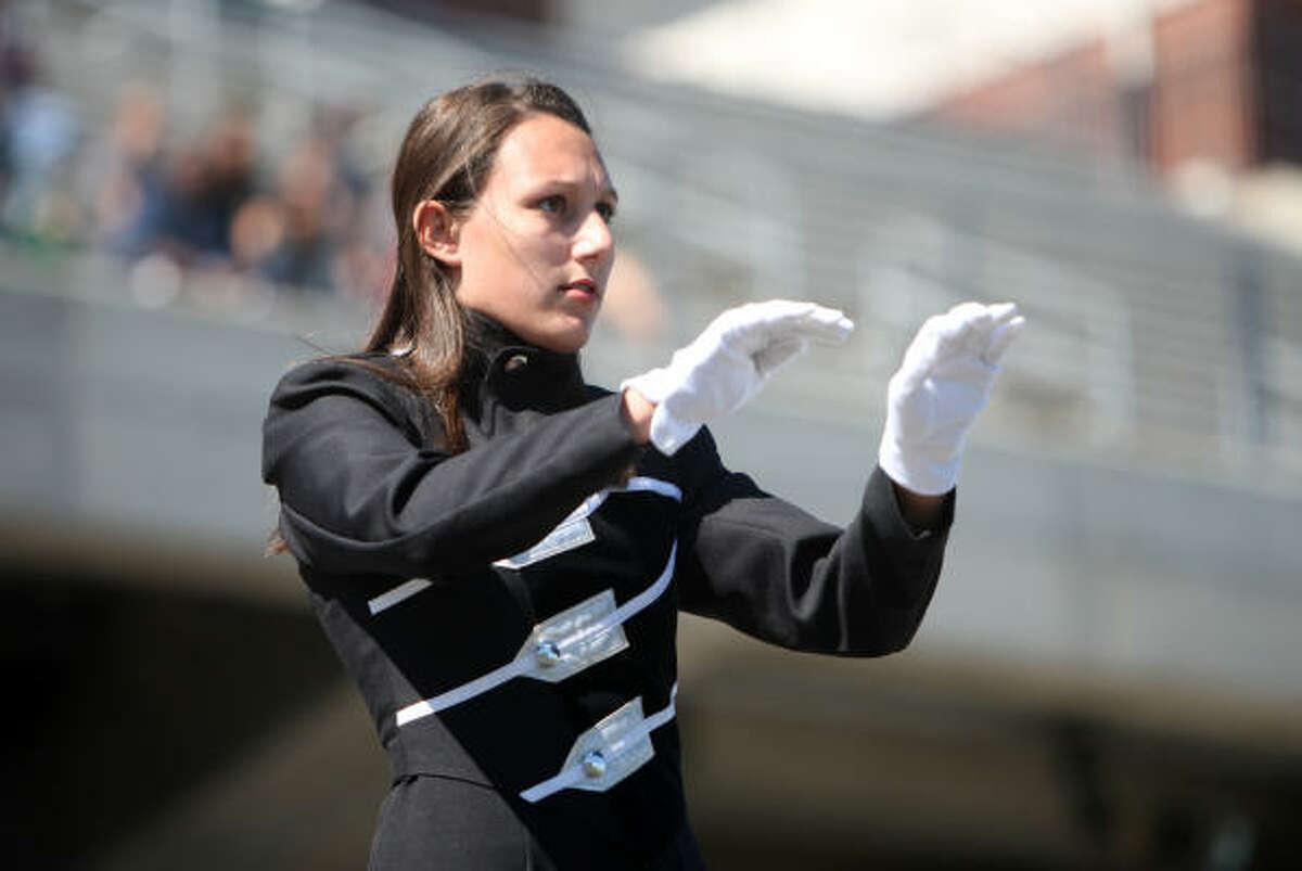 Drum major Megan Cavanaugh, a senior, leads the Cy-Fair High School band.