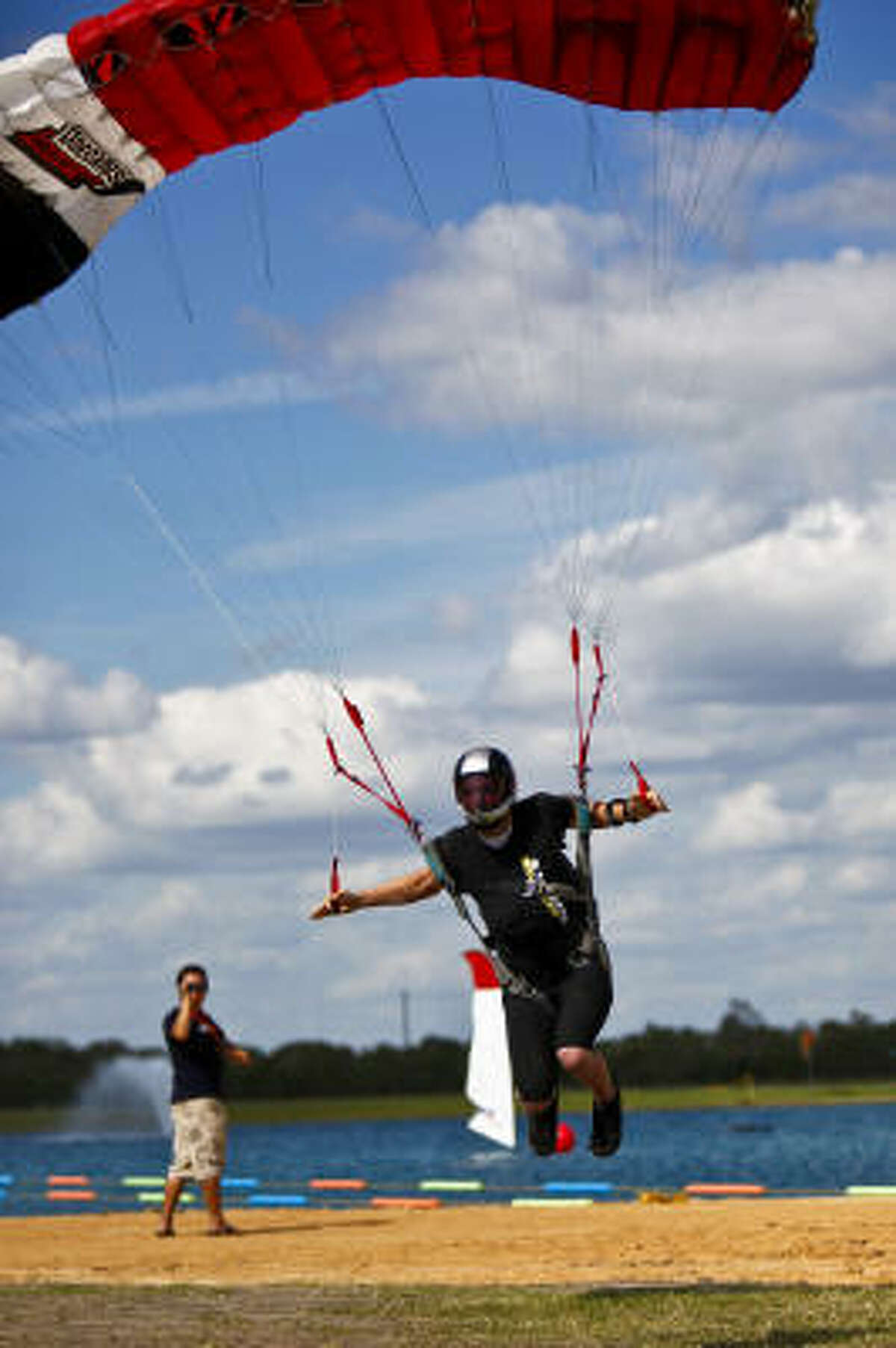 A competitor glides over the water during the swoop competition portion of the championships.