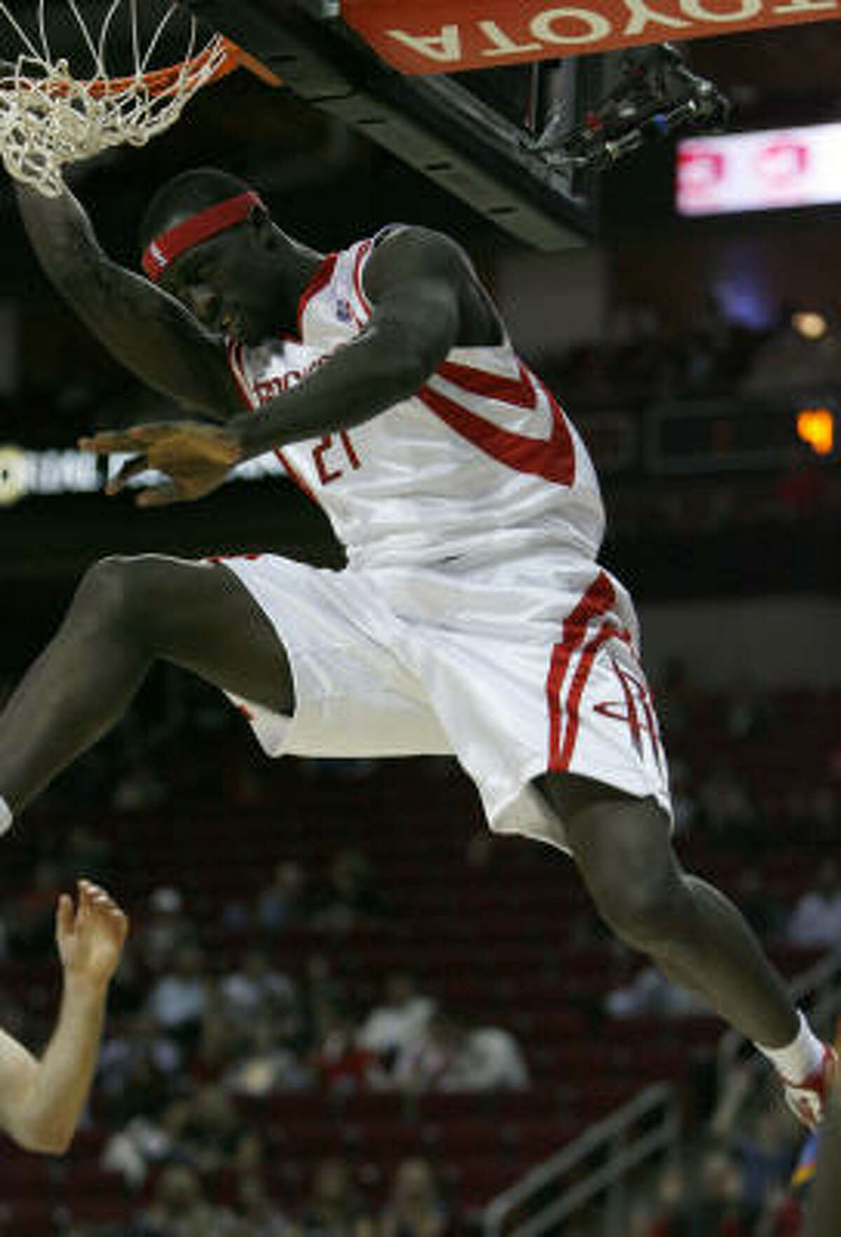 Pops Mensah-Bonsu throws one down for two of his 13 points that he scored in just 16 minutes.