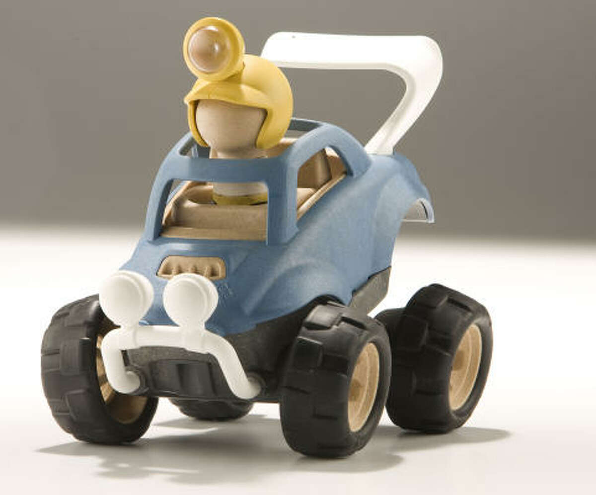 prig preschool toys are made from recycled wood and reclaimed plastic. The sturdy vehicles don't use any batteries; instead, kids push and pump the toys to activate the lights and plug-in characters. $24.99 for the rally racer at area Toys 'R' Us stores.