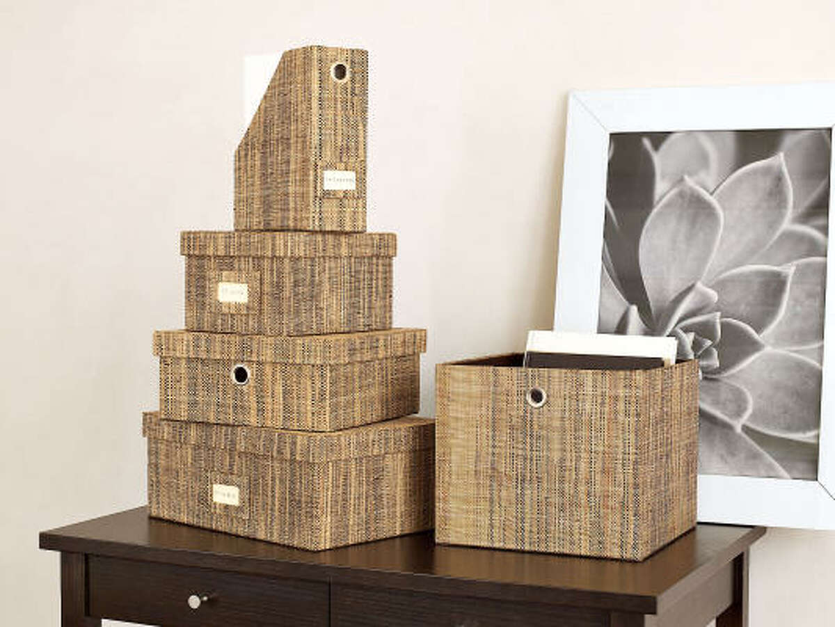 Storage boxes, such as these woven ones from West Elm, inject extra style into your gift.