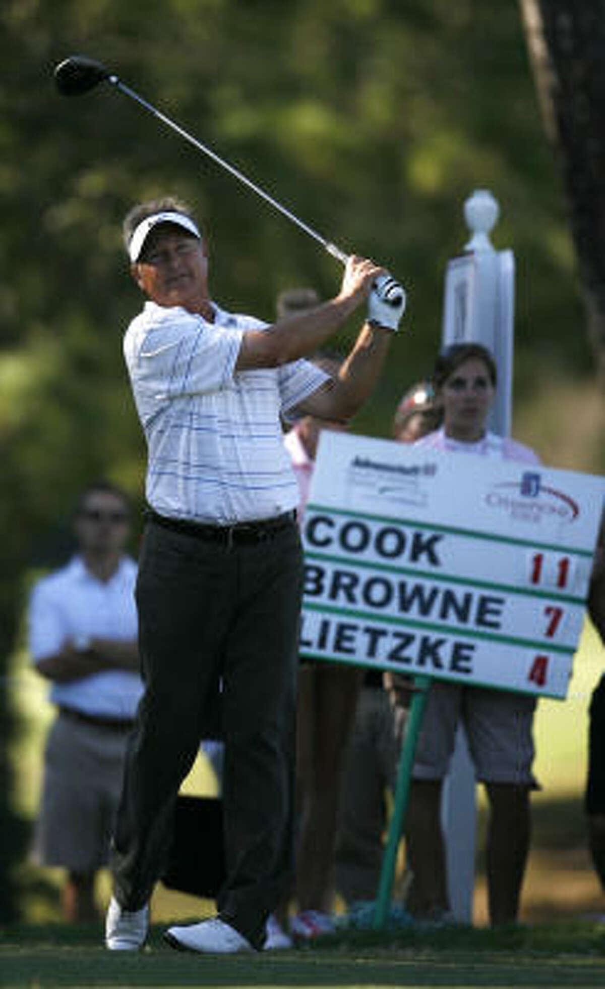 John Cook won the Administaff Small Business Classic with a score of 11-under par Sunday at The Woodlands Country Club.