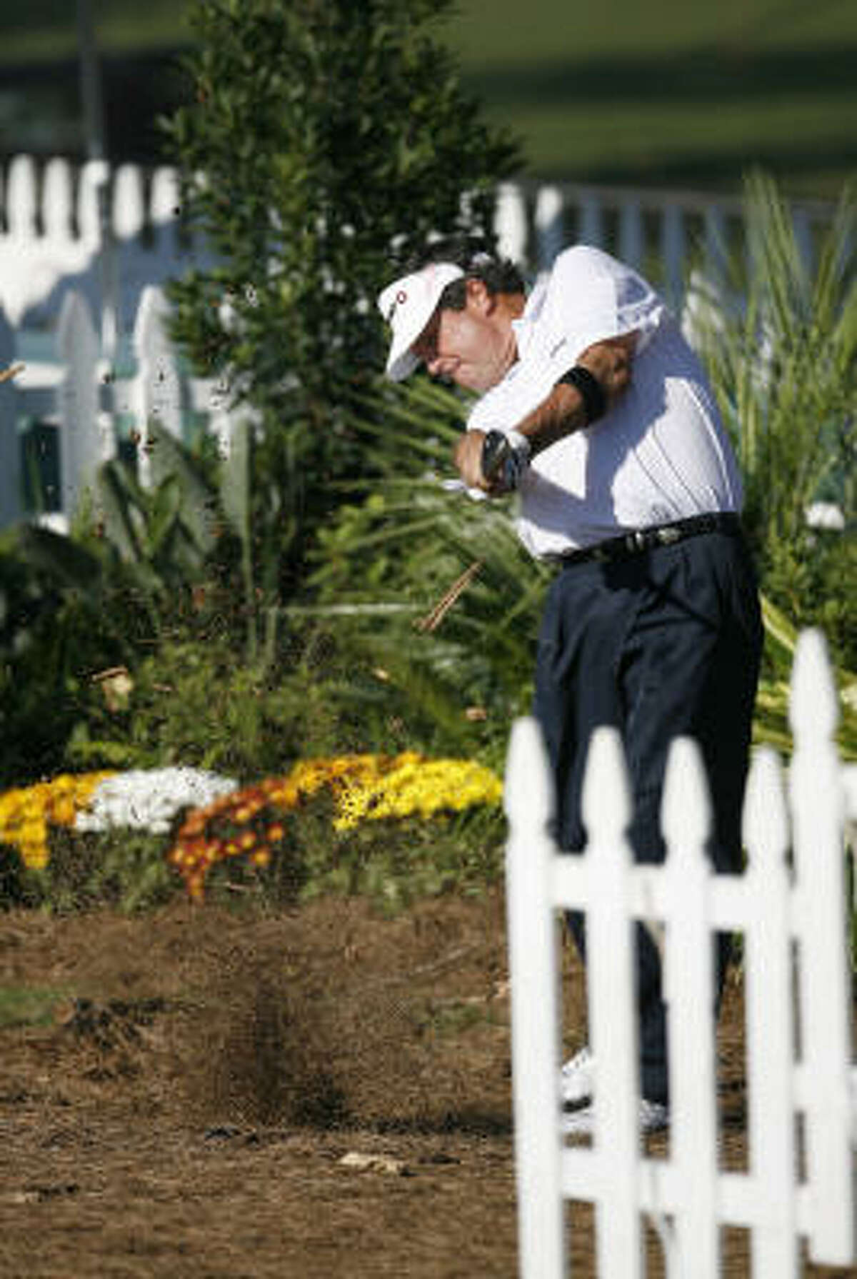 Bruce Lietzke hits his ball (which landed in the rough) on his approach on the 18th hole during Sunday's final round.