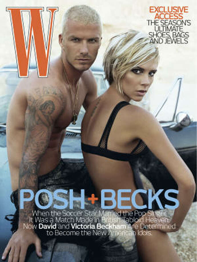 David Beckham and his wife, Victoria Adams, on the cover of W. Beckham will make his first appearance at Robertson Stadium when his Los Angeles Galaxy play the Dynamo on Sunday. Photo: Associated Press