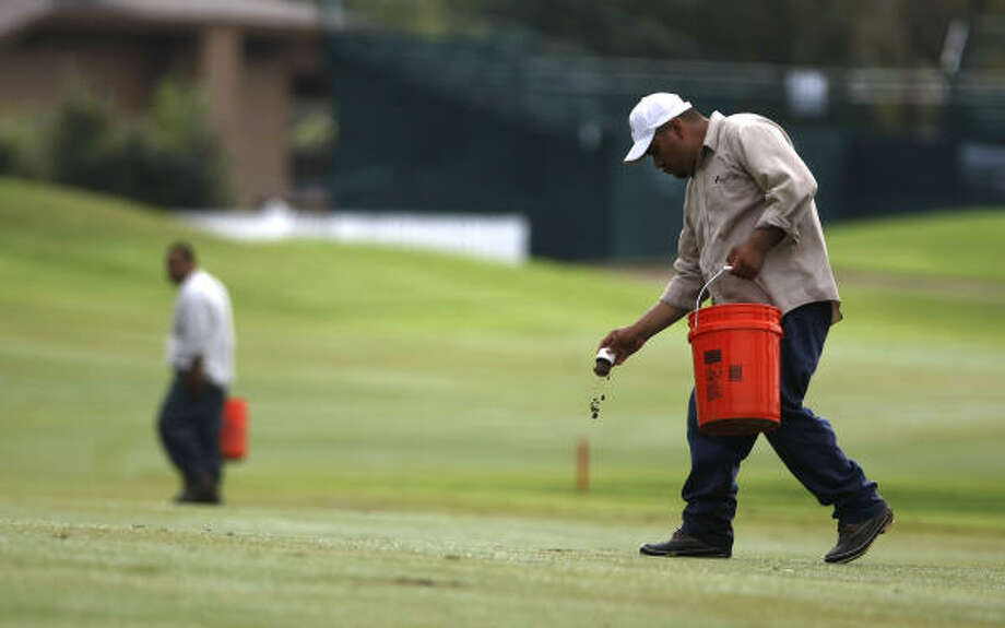 William Andres, right, and other grounds personnel of The Woodlands Country Club fix divots. Photo: Nick De La Torre, Chronicle