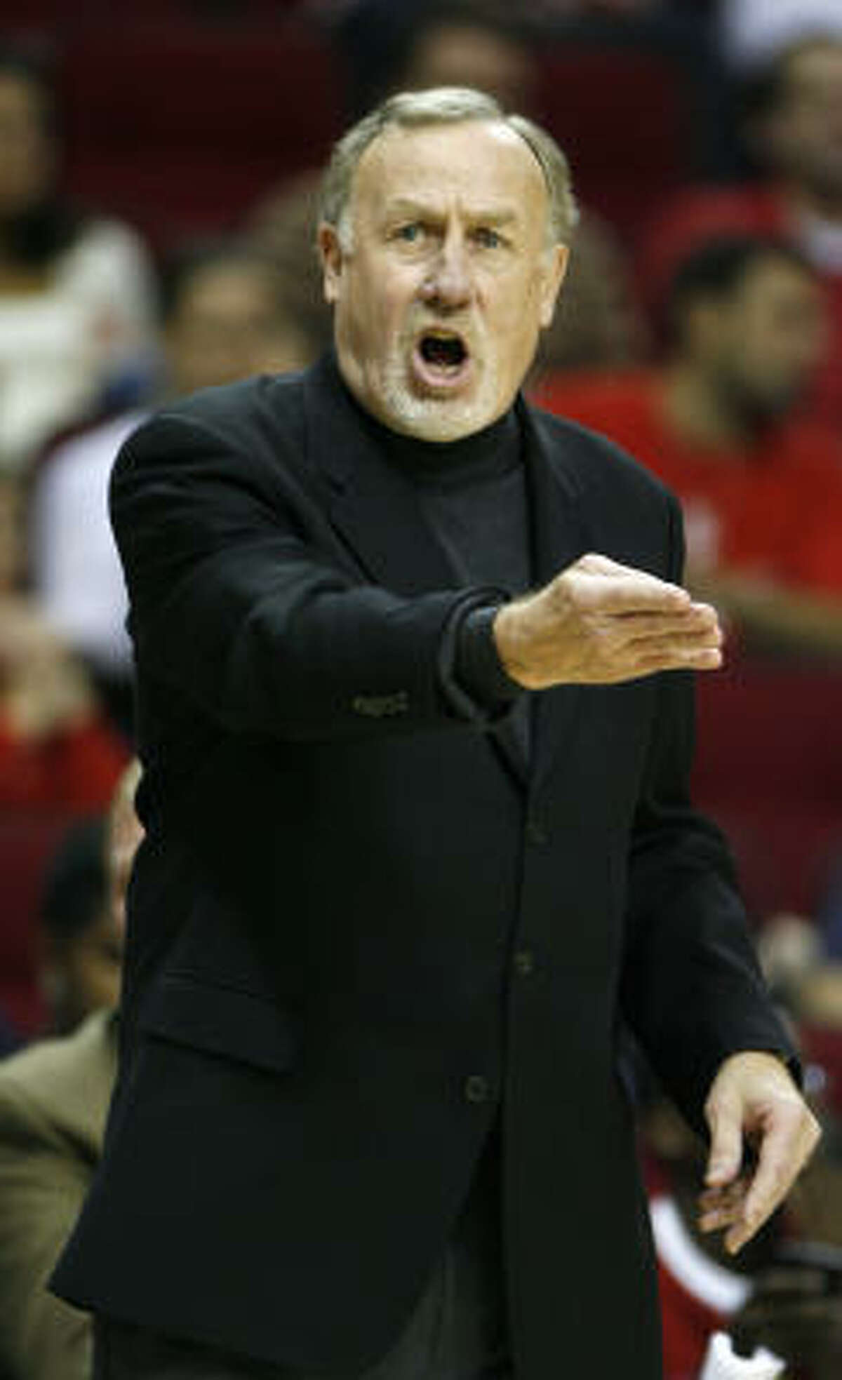 Bucks 96, Rockets 92 Rockets head coach Rick Adelman yells at a referee during the first half.