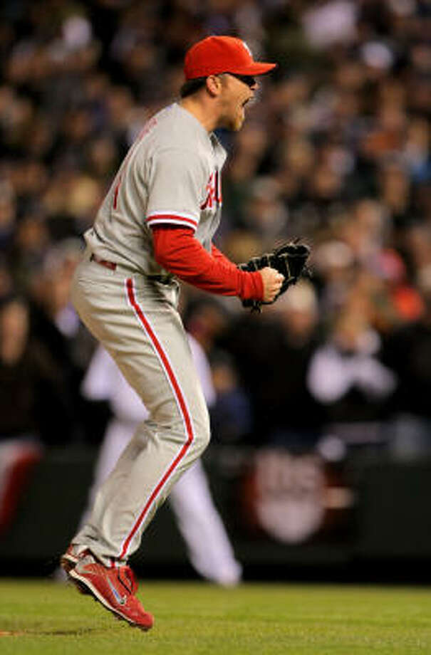 Game 4: Phillies 5, Rockies 4Brad Lidge celebrates his second straight save and the Phillies' 3-1 series win over the Rockies. Photo: Doug Pensinger, Getty Images