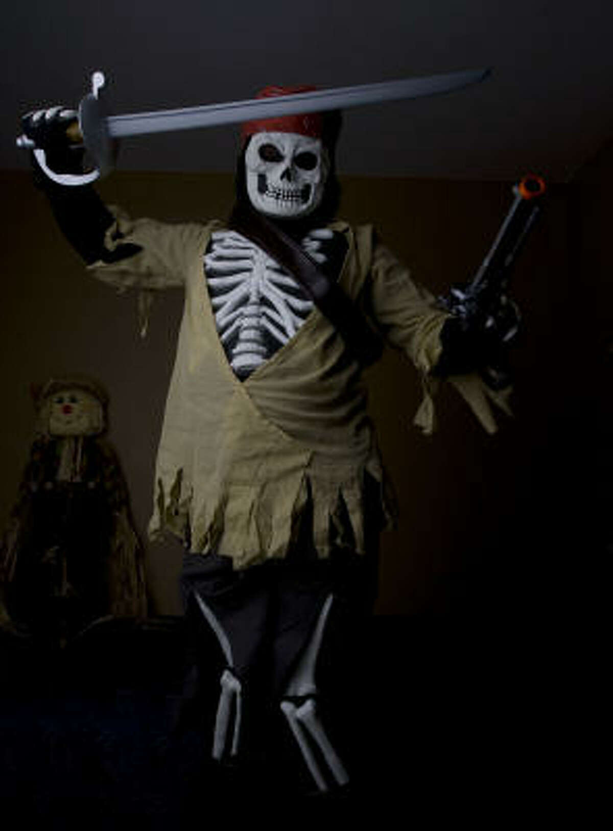 Tyler Coats, 10, in his skeleton pirate costume.