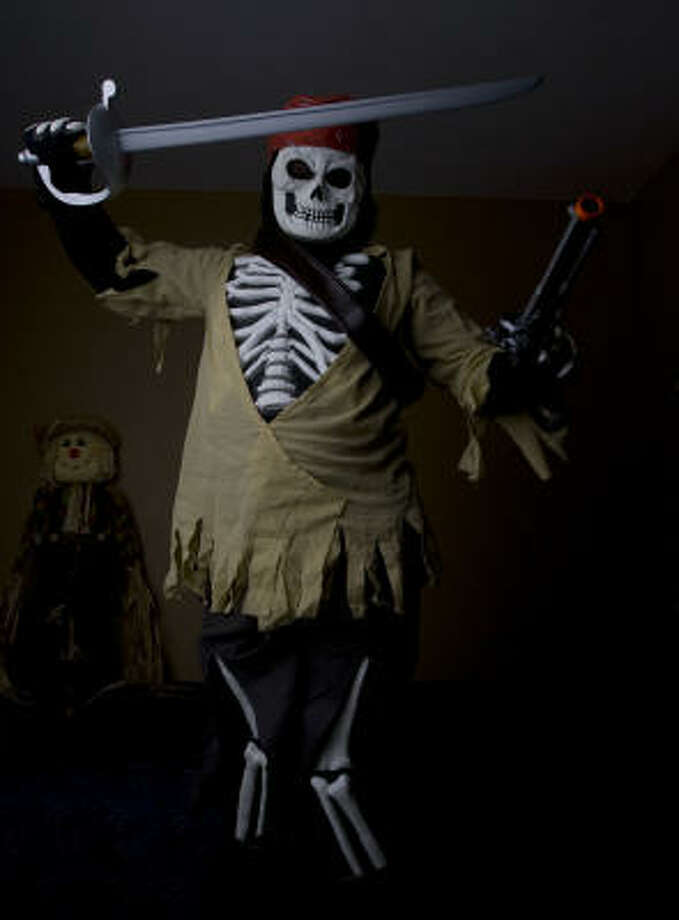Tyler Coats, 10, in his skeleton pirate costume. Photo: James Nielsen, Chronicle