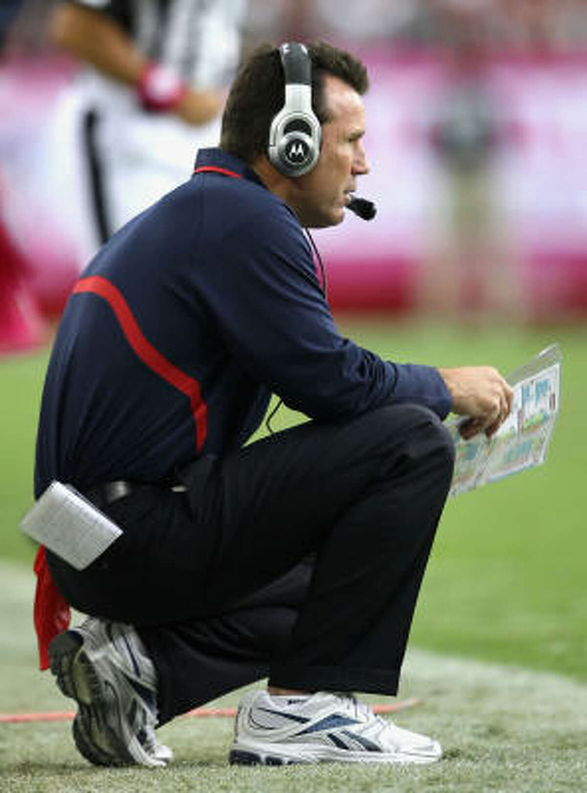 FALLING: Coach Gary Kubiak Let's take a moment to give Kubiak some credit for the Texans' second-half rally ... Moving on, the Texans have come out flat and looked uninspired at times this season. That falls on the coaching staff. If the Texans continue to struggle - and there's a chance with the tough part of the schedule yet to come - expect the calls to intensify for this to be Kubiak's fifth and final season with the Texans.