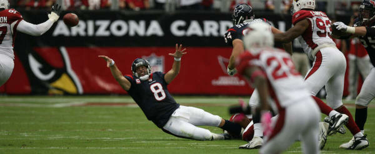 Quarterback Matt Schaub (pictured) was terrible in the first half and terrific in the second. He set career highs with 50 attempts and 35 completions. But he also threw an interception that was returned for the winning touchdown. C