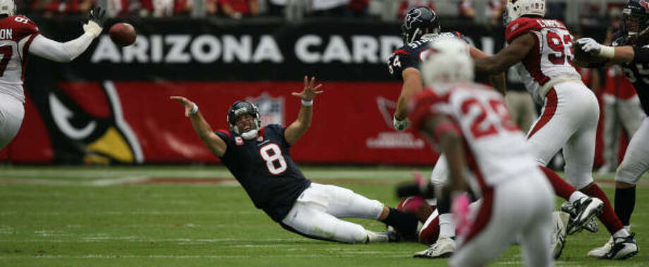 QuarterbackMatt Schaub (pictured) was terrible in the first half and terrific in the second. He set career highs with 50 attempts and 35 completions. But he also threw an interception that was returned for the winning touchdown.  C Photo: Billy Smith II, Chronicle