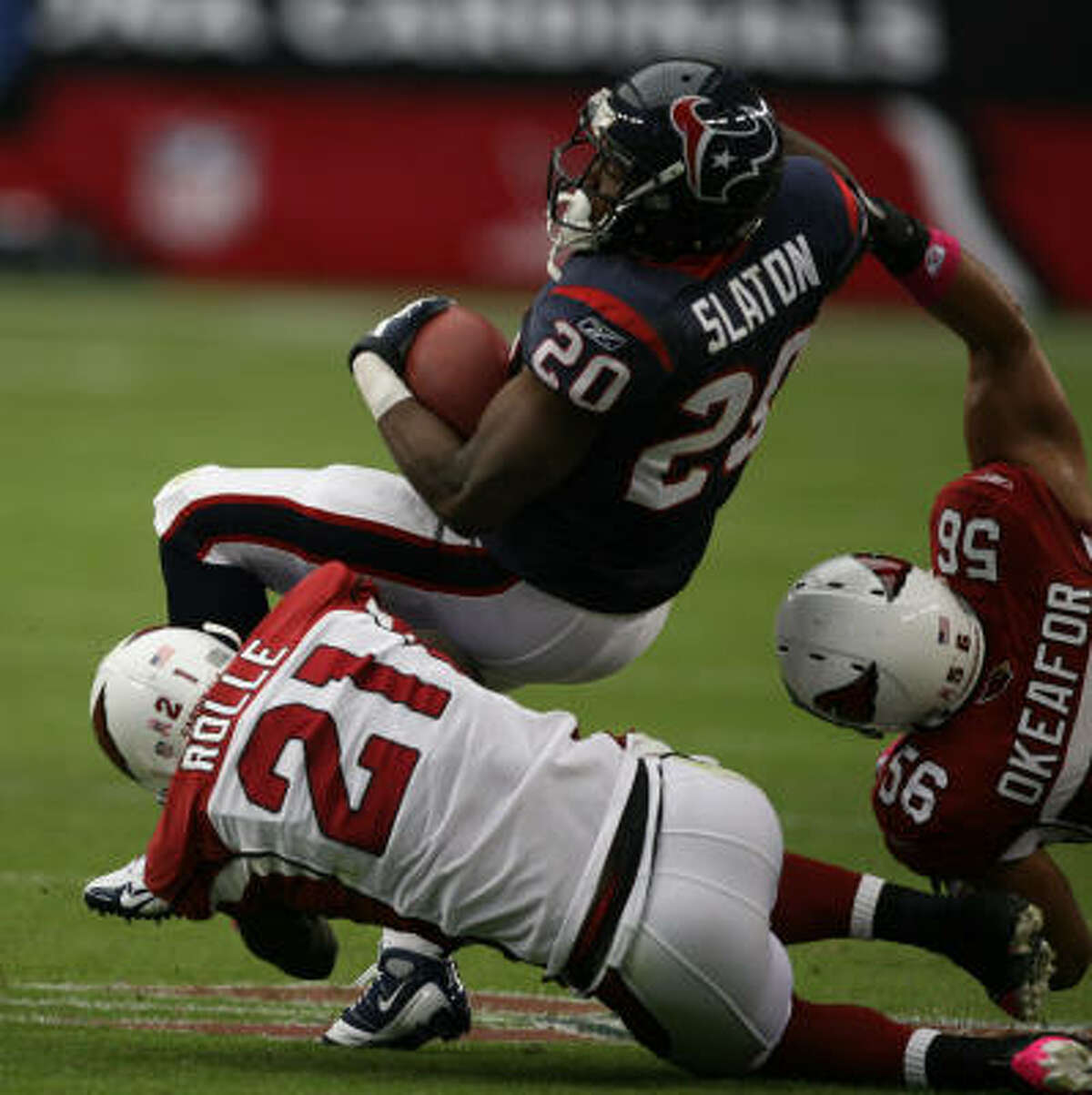 Running backs Steve Slaton (pictured) was more productive as a receiver than as a runner. He ran for 39 yards and had six catches. Chris Brown scored on a 1-yard run but was stuffed at the 1 on the Texans' last play that could have forced overtime. F