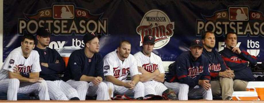 Game 3: Yankees 4, Twins 1The Minnesota Twins bench looks on after a 4-1 loss to the Yankees. The Yankees won the final baseball game at the Metrodome to finish the sweep of the Twins and to advance to the ALCS. Photo: Kathy Willens, AP