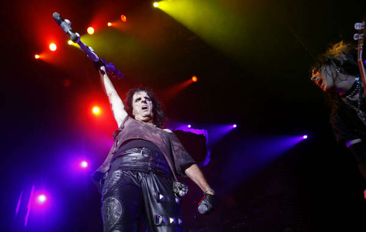 Alice Cooper performs at the Verizon Theater in Houston.