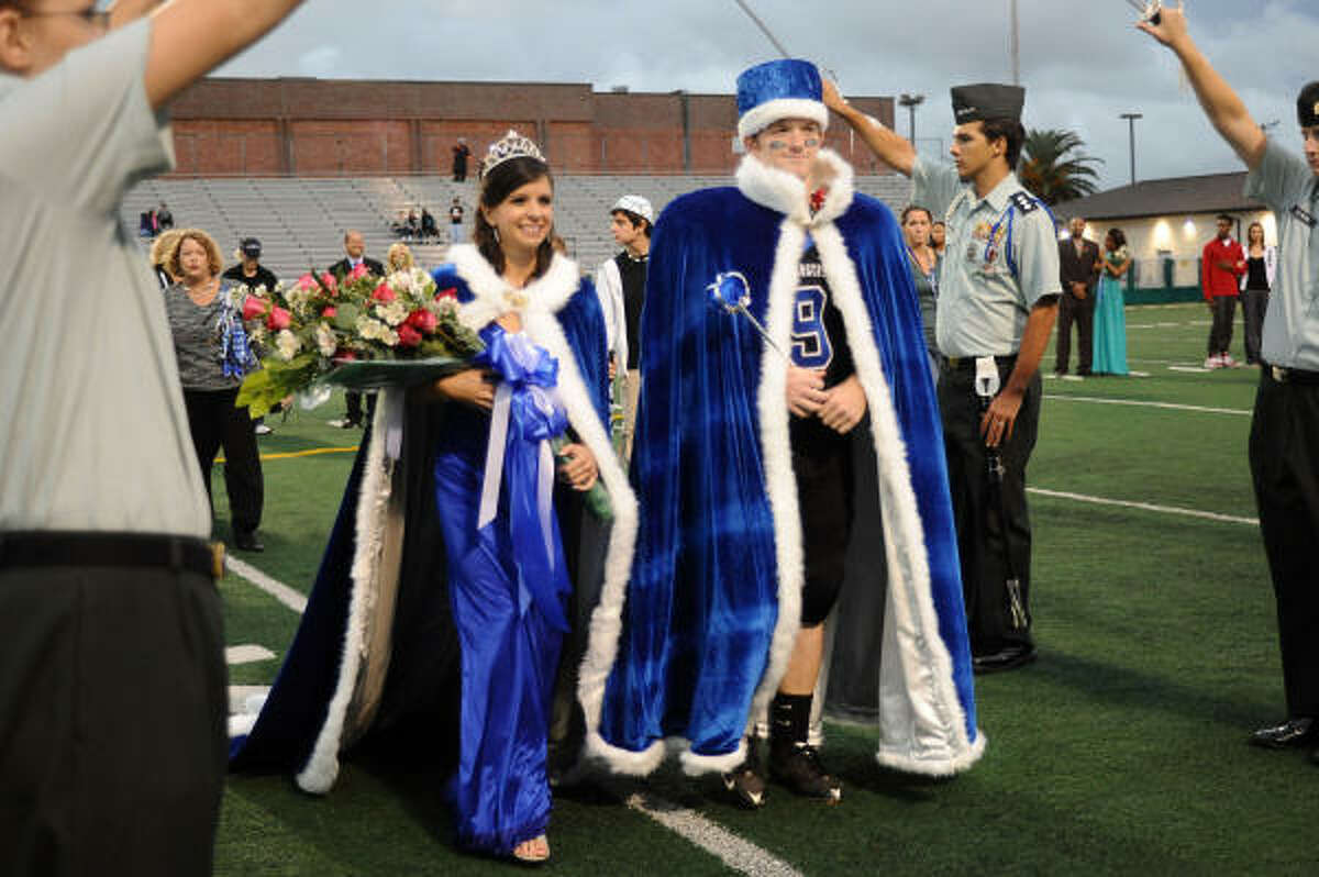 Lisa Caterina and Phillip Miller are named 2009 Clear Springs homecoming queen and king Friday at Veterans Memorial Stadium.