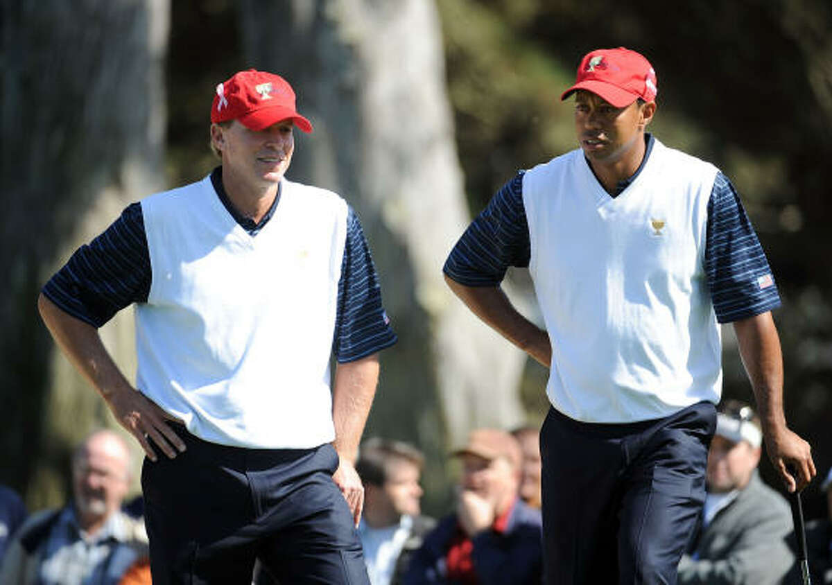 Tiger Woods (right) and Steve Stricker of the American team are the only players who have not trailed at any point during the first two days of the Presidents Cup at San Francisco's Harding Park Golf Course.