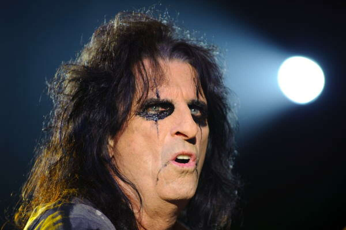 Alice Cooper typically wears a lot of black eye makeup and, on occasion, he'll add a blood stain appearance around his mouth. Get ready to break out your black eyeliner this weekend, he'll be in town Sunday.