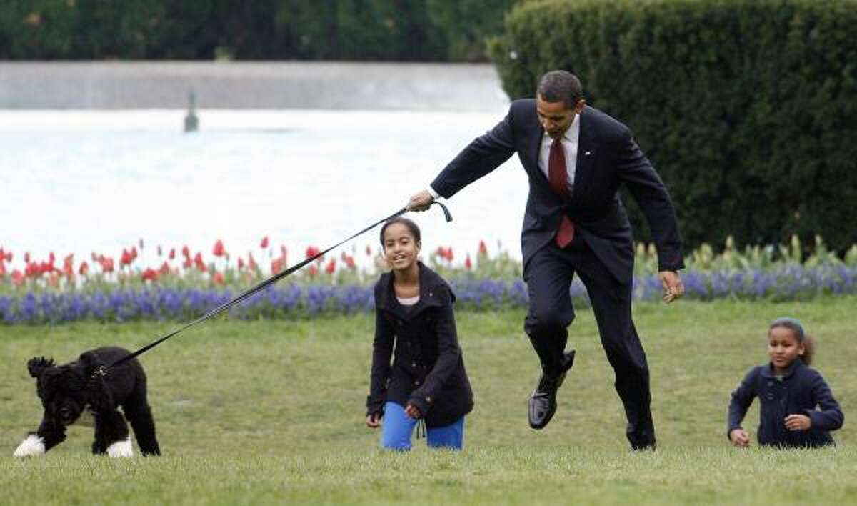 President Barack Obama is almost jerked off his feet as he shows off their new dog Bo April 14, with his daughters Malia, left, and Sasha Obama on the South Lawn of the White House.