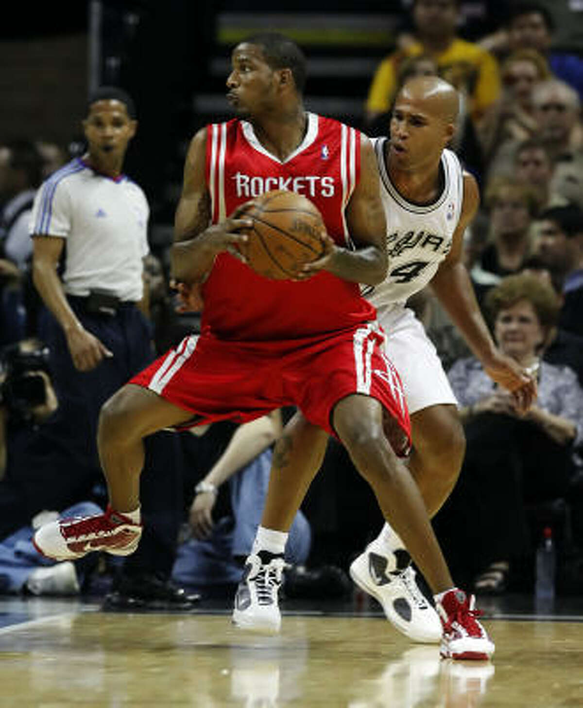 Trevor Ariza, acquired in free agency this offseason, scored nine points in his Rockets debut.