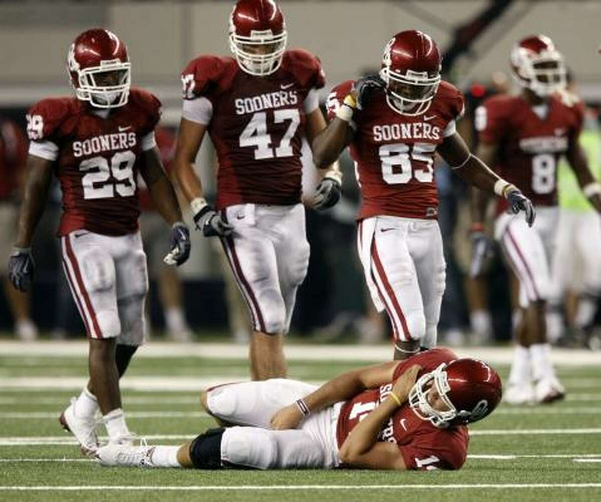 Oklahoma Sooners What we thought then: Sam Bradford passed up millions to win a national championship, and the Sooners had the pieces to make that gamble pay off. Plugging holes on the offensive line was an issue, but OU surely had the talent to handle it. What we know now: The holes on that line were not only too porous to fix, they also turned out to be hazardous to both Bradford's health and OU's title hopes. A lack of protection has resulted not only in two losses, but also Bradford's shoulder. What we'll find out: The defense is still playing fine, and with Bradford coming back this week, the Sooners have a chance to win the Big 12. But another loss to UT will be tough to bounce back from.