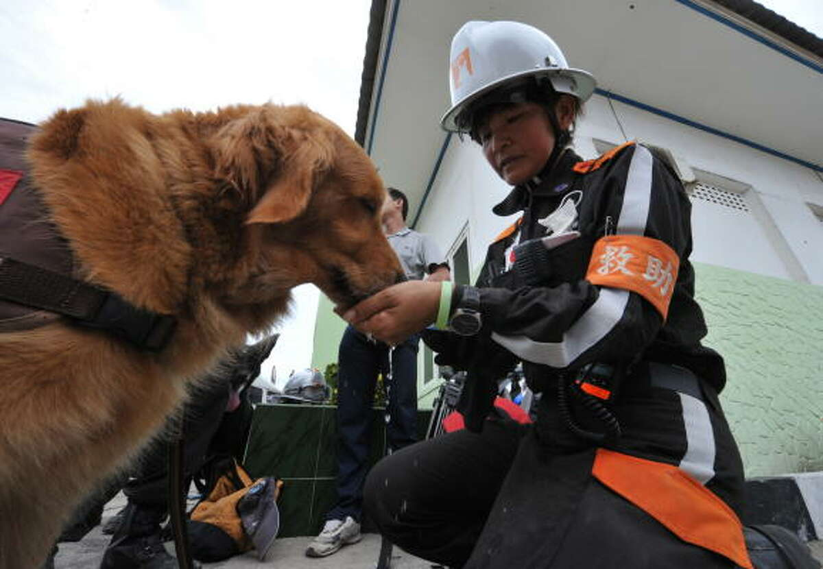 A member of a Japanese rescue team gives water to her dog in Padang, West Sumatra Oct. 3 as they take a break from searching victims of a 7.6-magnitude earthquake that hit the area Sept. 30. Whole villages in Indonesia's quake zone were found obliterated by landslides, as rescuers searched desperately for up to 4,000 people believed still trapped in the disaster area.