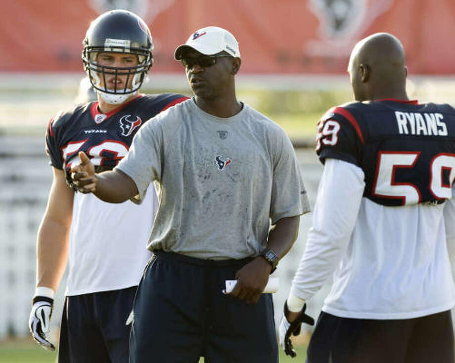 "RISING: Defensive coordinator Frank BushAfter three miserable performances by the defense, Texans fans were ready to dump the first-year coordinator. Bush's unit put together the second-best performance in franchise history, allowing only 165 yards total offense and a pair of field goals in Sunday's 29-6 victory over the Oakland Raiders. ""We've got a long way still to go,"" Bush said. Photo: Brett Coomer, Chronicle"