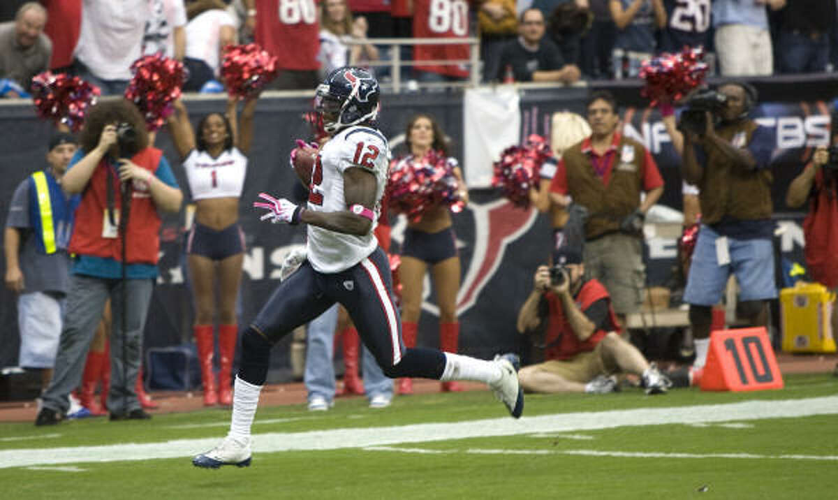 RISING: Wide receiver/kick returner Jacoby Jones Jones, who was on the bubble to make the team in training camp, returned a kickoff 95 yards for a touchdown in the third quarter. He has become one of the Texans' most reliable scorers during the first month with three touchdowns (two receiving).