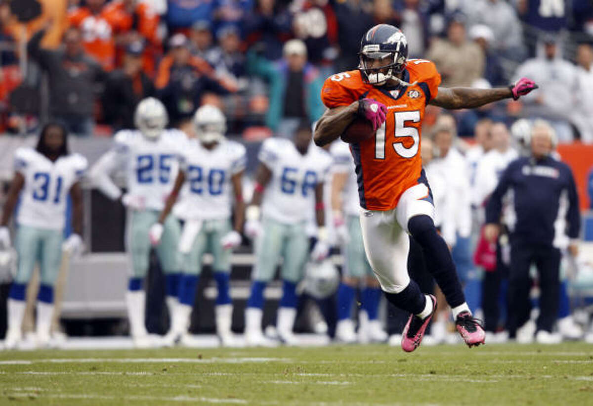 Broncos wide receiver Brandon Marshall (15) scored on a 51-yard catch-and-run with 1:46 remaining to send Denver to a 17-10 win over the Cowboys on Sunday at Invesco Field at Mile High in Denver.