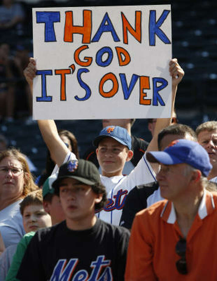 Oct. 4: Mets 4, Astros 0A young Mets fan feels expresses  sentiments similar to several Astros fans. Photo: Kathy Willens, AP