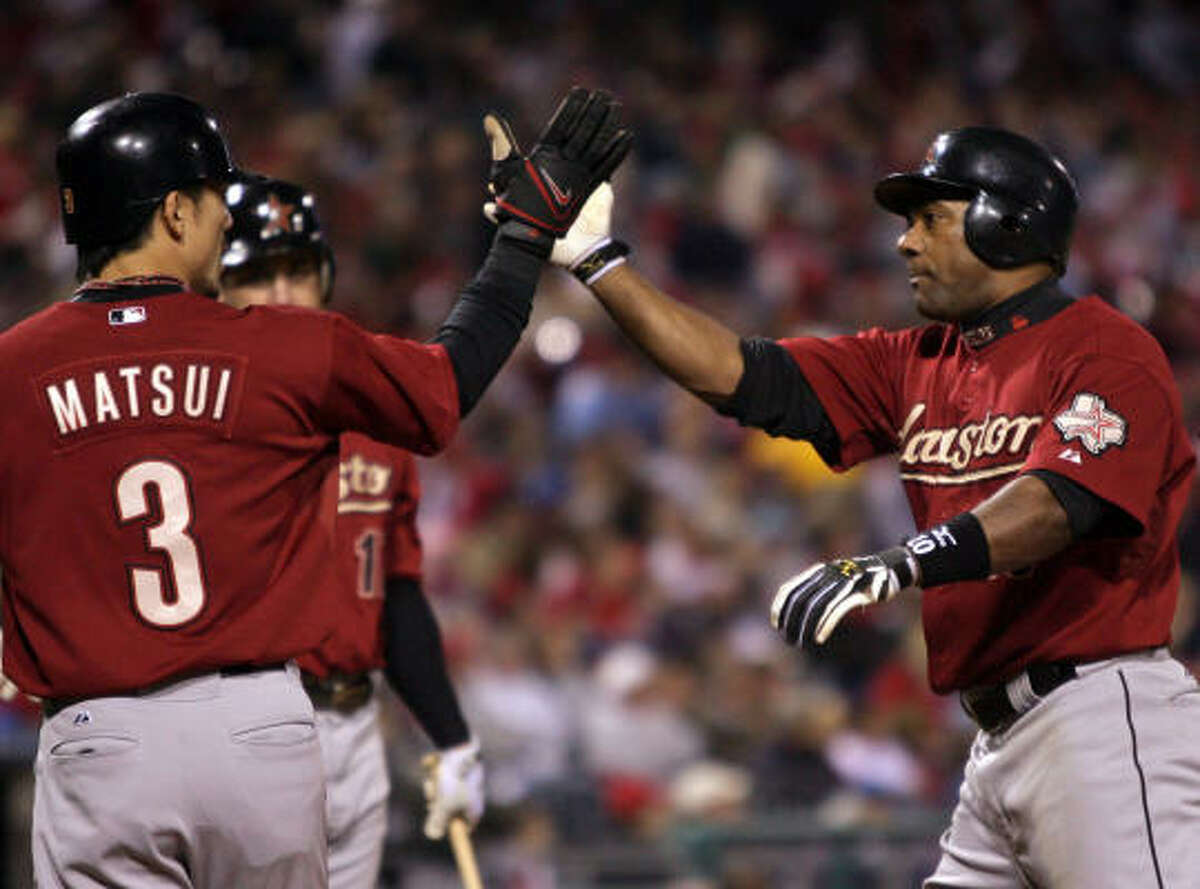 Oct. 1: Astros 5, Phillies 3 Houston's Miguel Tejada, right, hit a two-run homer in the sixth inning to give the Astros a 4-1 lead in Thursday's game at Citizens Bank Park in Philadelphia. The Astros held on from there.
