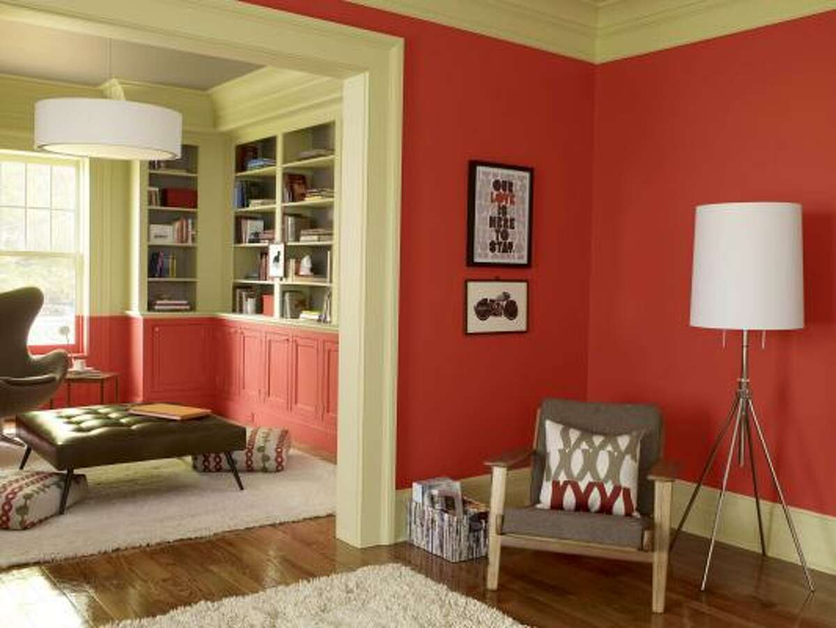 In this photo, the color 2008-20 Claret Rose, an orange-red, shows it can both make a statement and liven up a room.