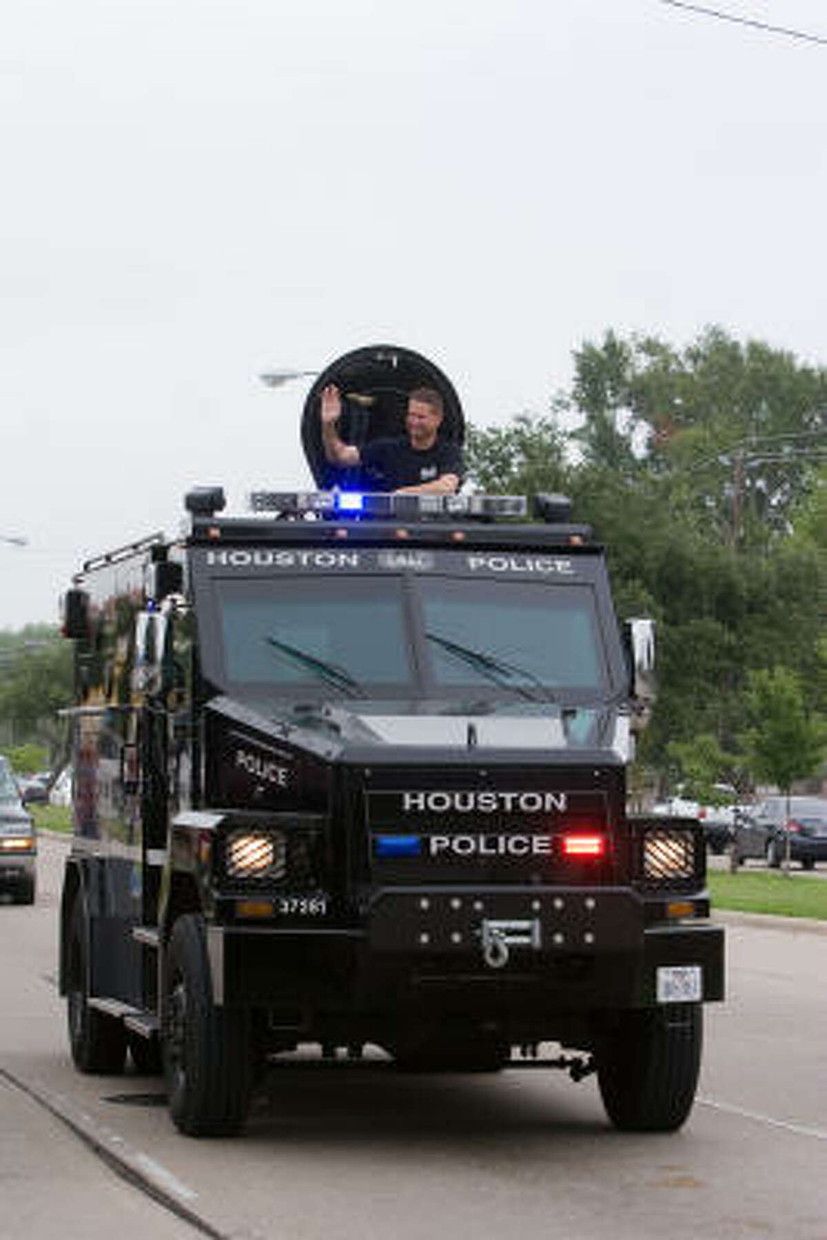 The Houston Police Department SWAT tank also showed up at the parade.