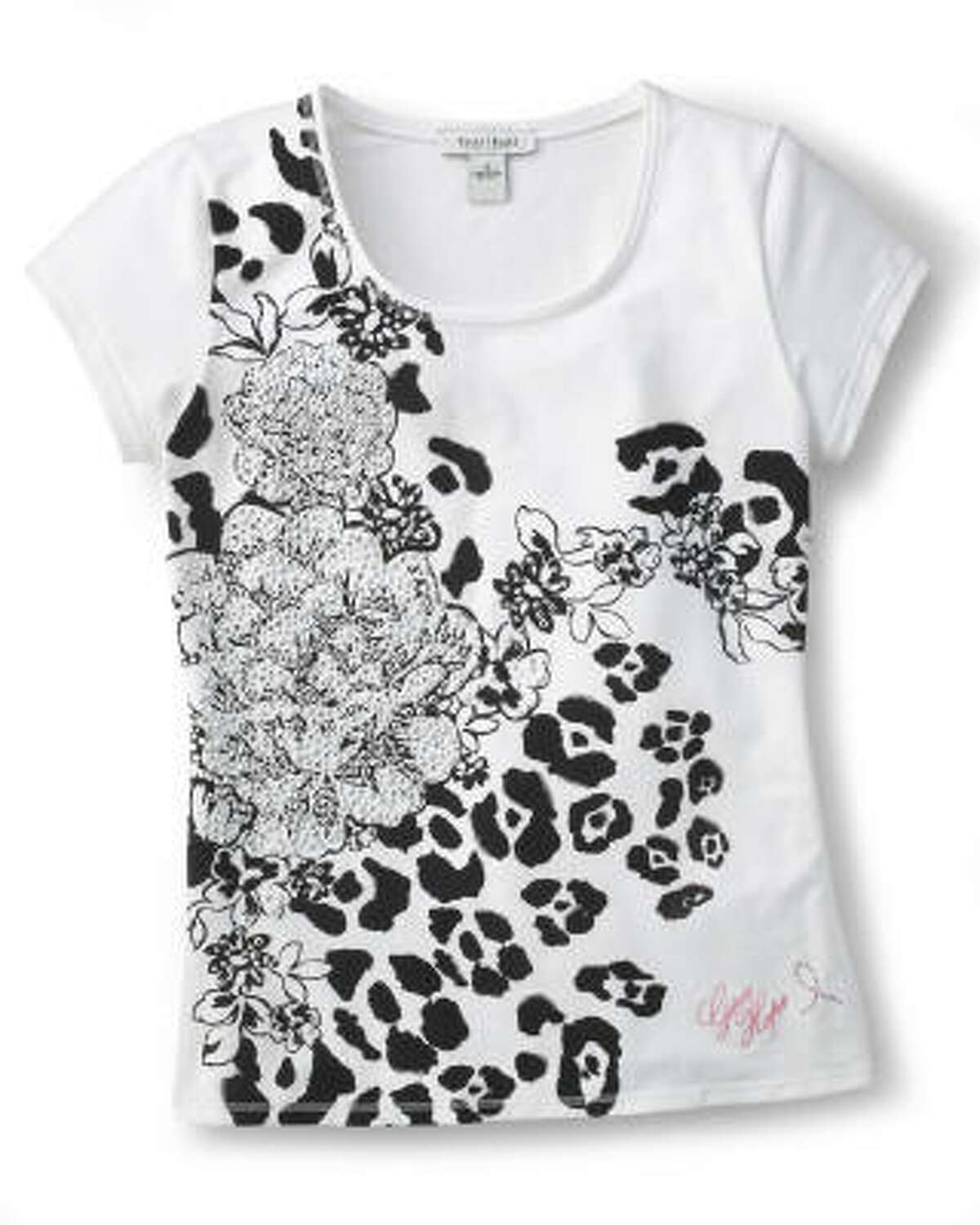 The Give Hope leopard floral tee, $38, benefits the Beyond Breast Cancer organization. Available at White House Black Market.