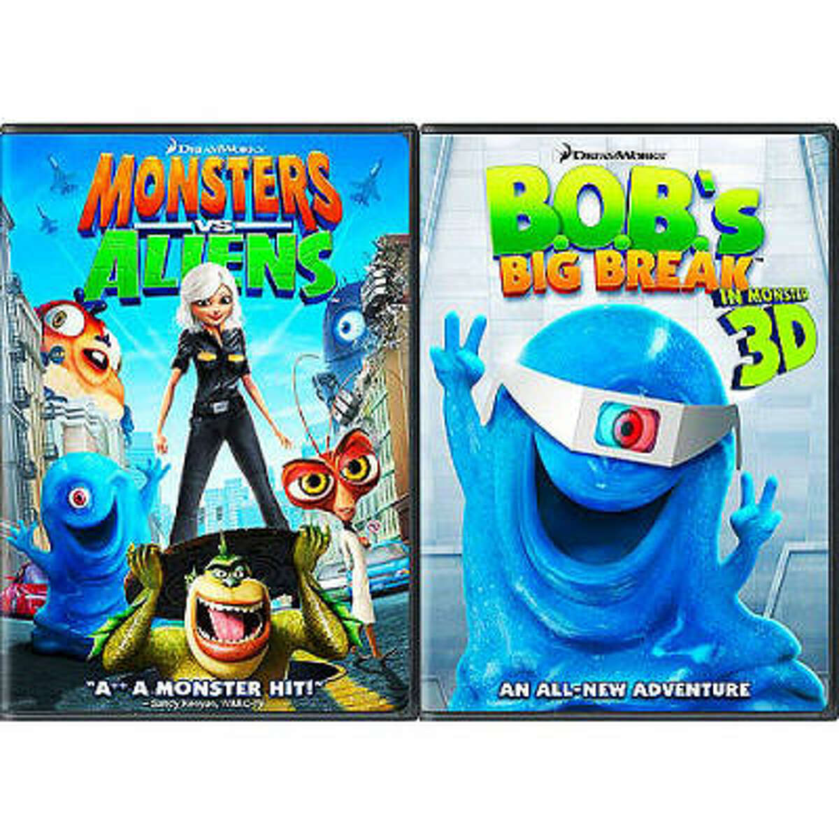 Monsters vs. Aliens/B.O.B.'s Big Break in Monster 3D: Ginormous Double Pack . Cost: $34.98. Or the single disc DVD can be had for $29.98.